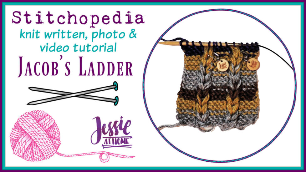 How to Knit Jacob's Ladder - written, photo & video tutorial by Jessie At Home - social