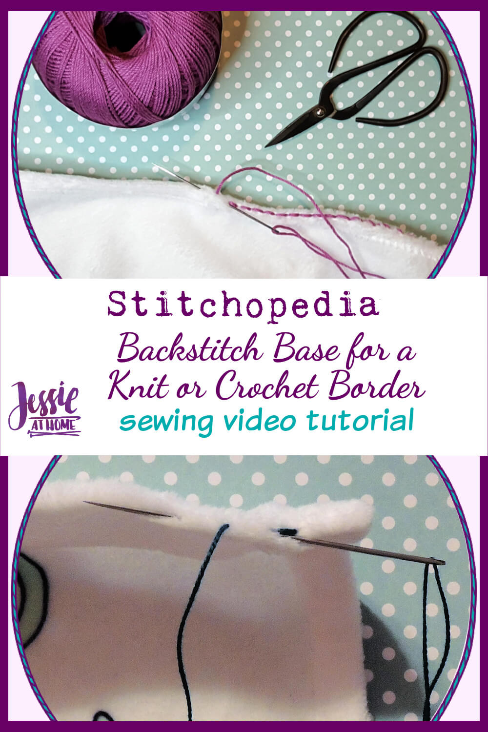 Backstitch Base for a Knit or Crochet Border on Fabric
