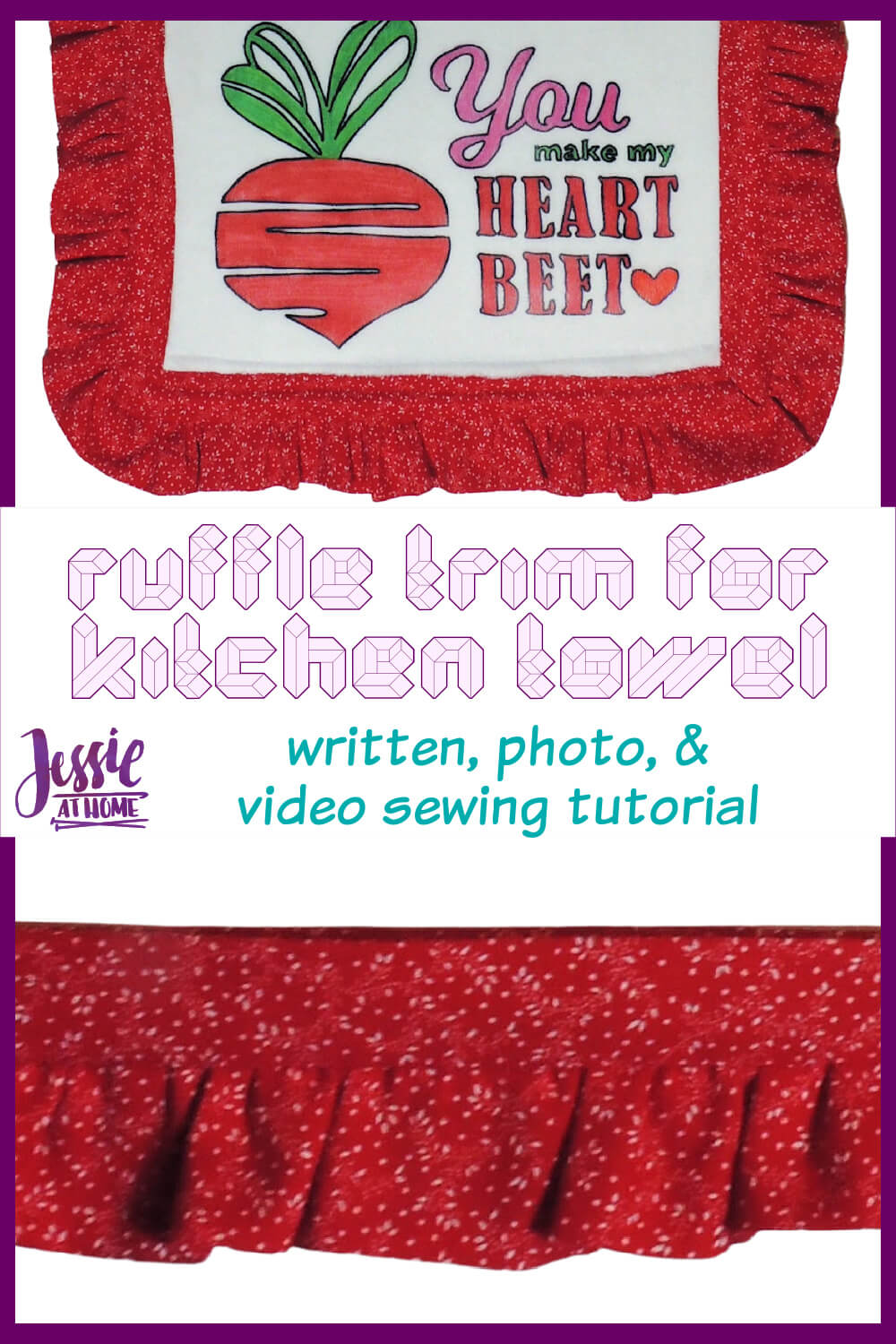 Ruffle Trim for Kitchen Towel - written, photo, & video sewing tutorial