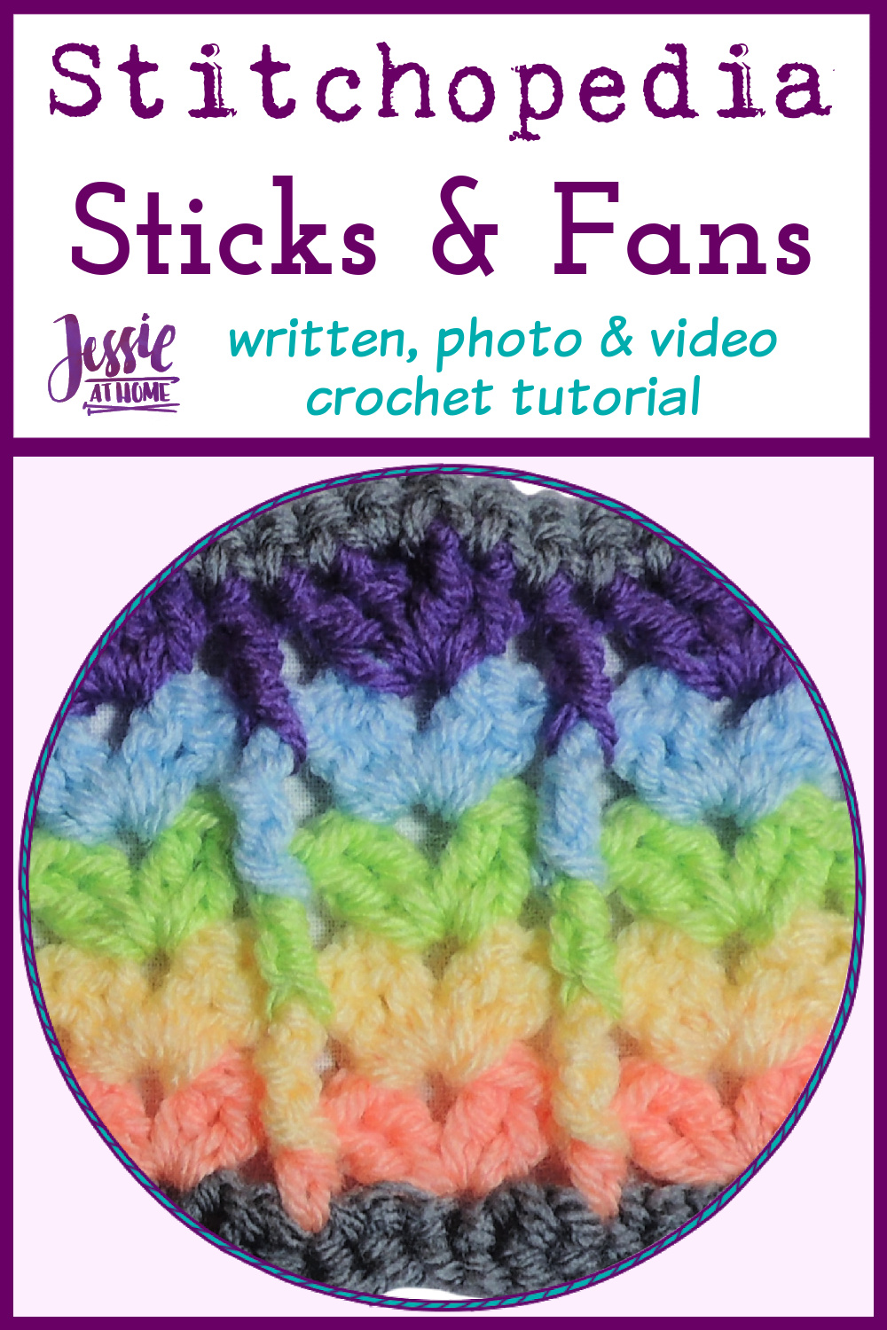 Sticks and Fans Stitch - written, photo, and video crochet tutorial
