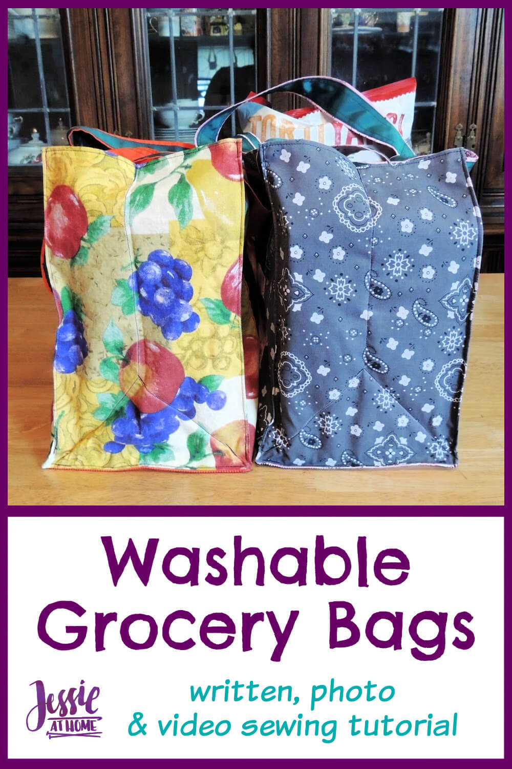 Washable Grocery Bags Sewing Tutorial - Shop with Style