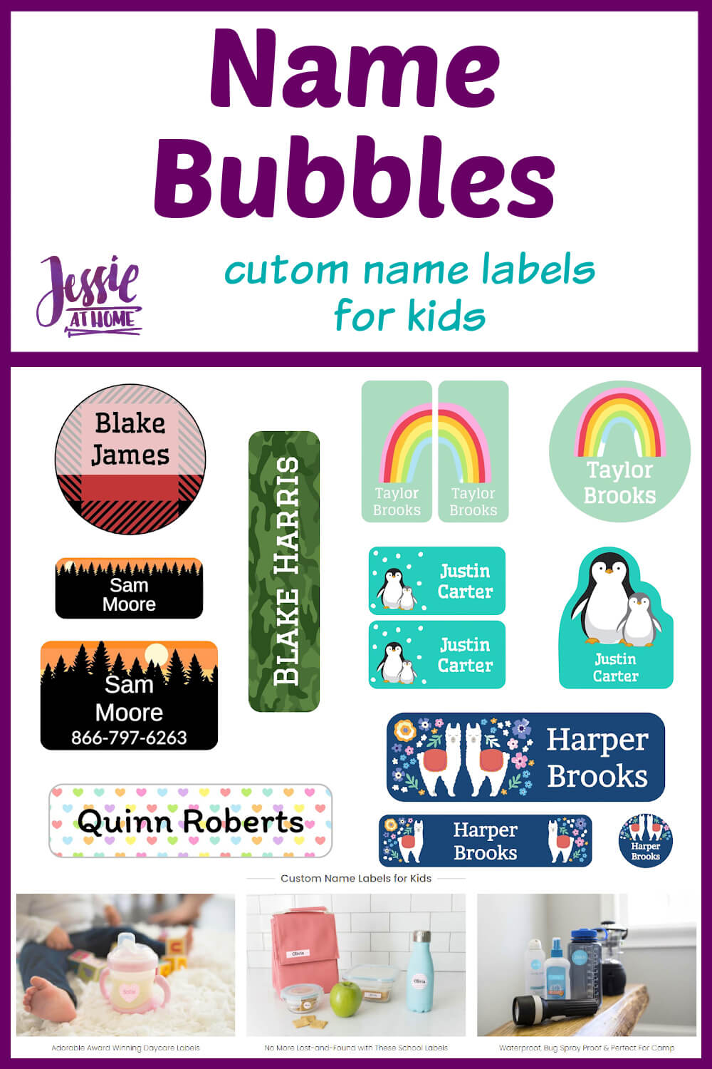 Name Bubbles custom name labels for kids - Jessie At Home - Pin 1