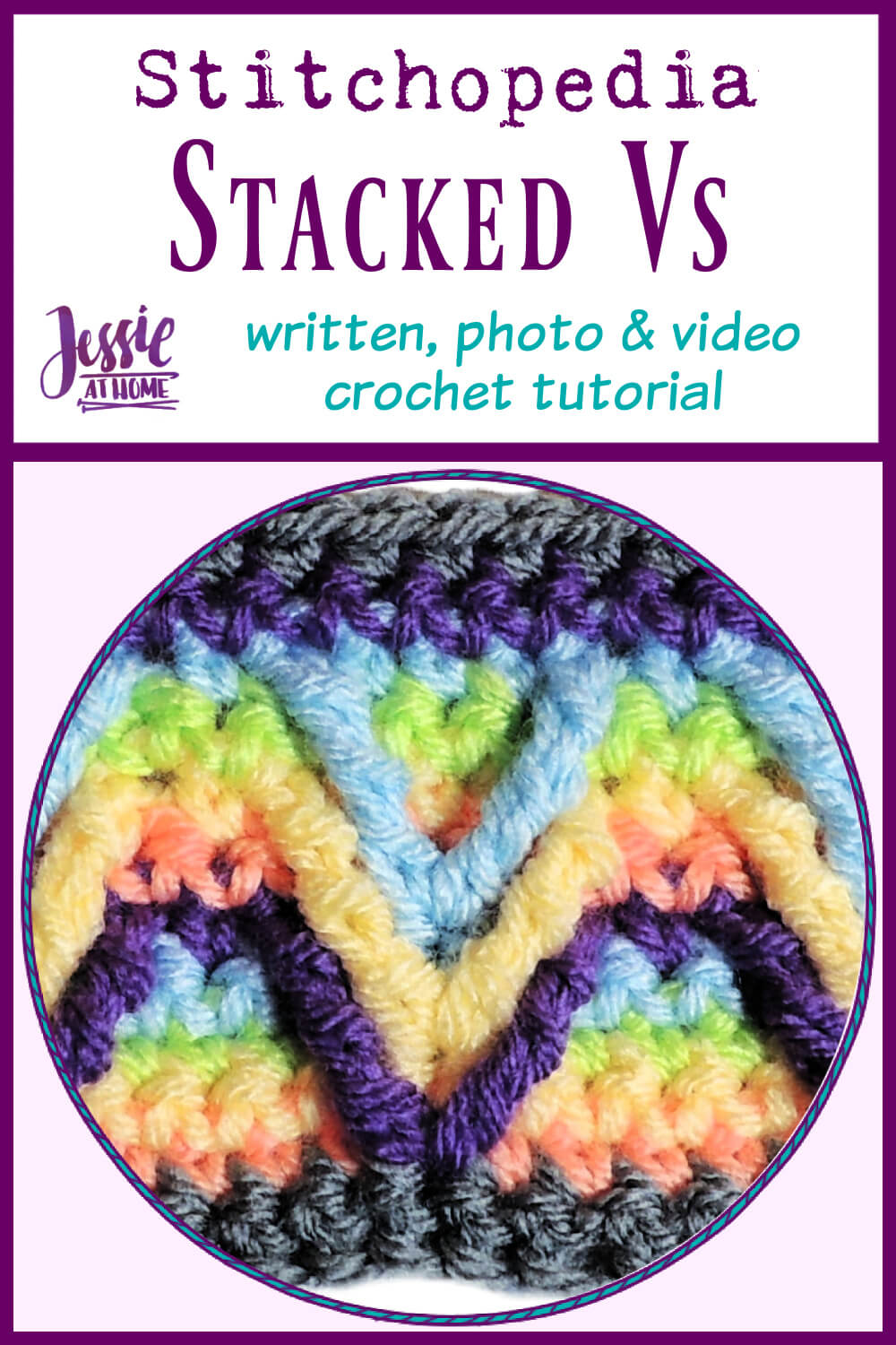 Stacked Vs Stitch – written, photo, and video crochet tutorial