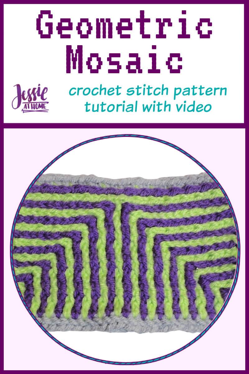 Geometry Mosaic Crochet – free stitch pattern tutorial with video