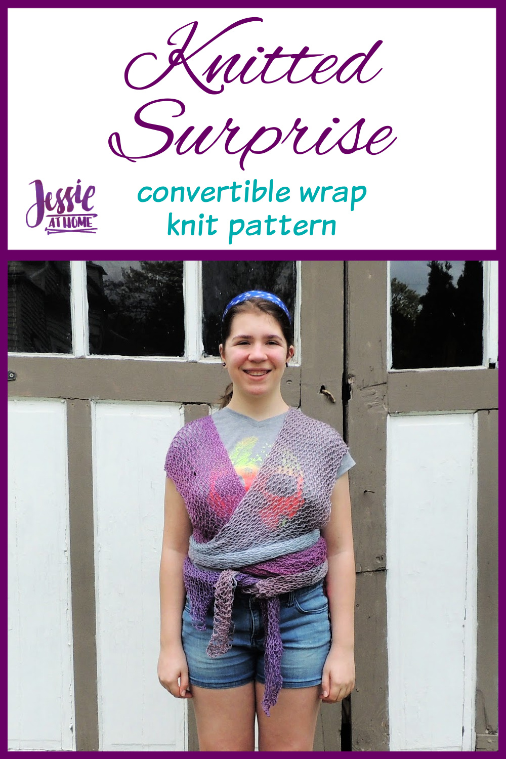 Knitted Surprise - convertible wrap knit pattern by Jessie At Home - Pin 1