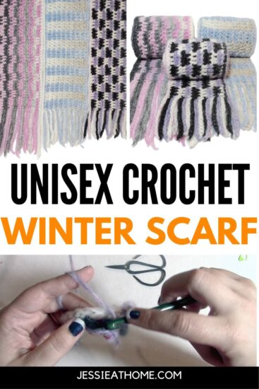 """Vertical rectangle image with two images on top, each of 3 scarves, and one image on bottom of two hands crocheting a scarf. On the very bottom is a black stripe with text """"Jessie At Home dot com"""", and across the middle is text """"Unisex Crochet Winter Scarf."""""""