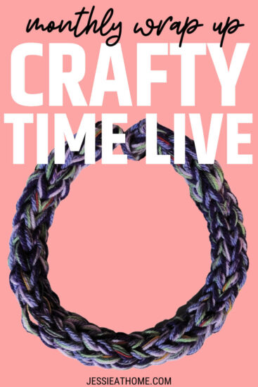 """A coral background with a large image of a chunky finger knit necklace overlaid with text which reads """"Crafty Time Live"""" and """"Jessie At Home dot com"""""""