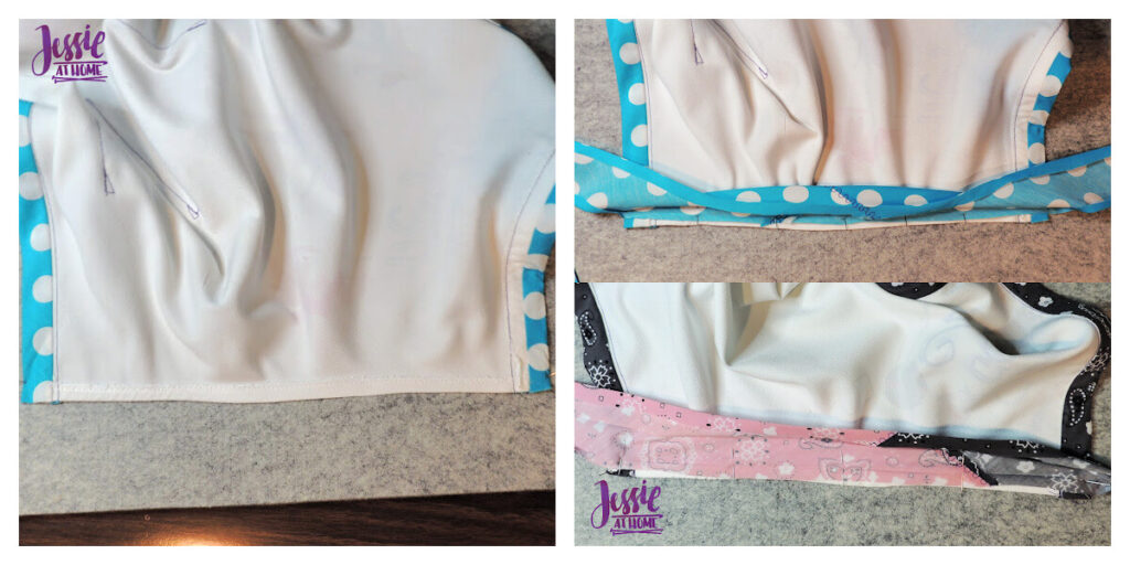 Straighten Armhole then pull and pin Bias Tape on Wrong Side