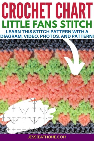 """Salmon and light green crochet stitch pattern with gray on top and bottom with an overlay in the corner of a crochet chart. Reads """"Jessie At Home' on the bottom. Text across the top reads """"Crochet Chart Little Fans Stitch, learn the stitch pattern with a diagram, video, photos, and pattern"""""""