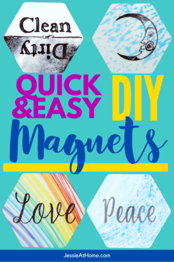 """aqua background with several hexagon magnets and text which reads """"Quick & Easy DIY Magnets"""""""